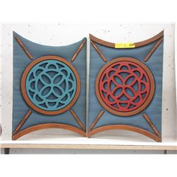 Pair of Wood & Fabric Decorations