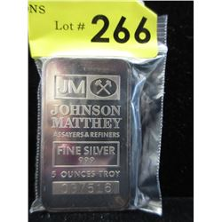Vintage 5 Oz. Johnson Matthey .999 Silver Bar