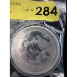 2 Oz. Year of the Dragon .999 Silver Coin