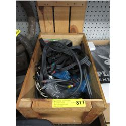 Small Wood Crate of Audio Cables & More