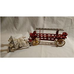 ANTIQUE CAST IRON HORSE AND FIRE WAGON