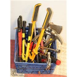 CRATE OF LARGE HAND TOOLS INCL AXE, HAMMERS, BOLT