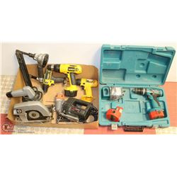FLAT OF POWER TOOLS INCL DEWALT , MAKITA, ADX,