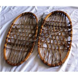 "Wood & rawhide snowshoes, mkd. USA, 20"" x 11"""