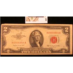 Series 1953B 'Red Seal' $2 United States Note.
