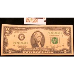 Series 1995 Uncirculated Two Dollar Federal Reserve Note.