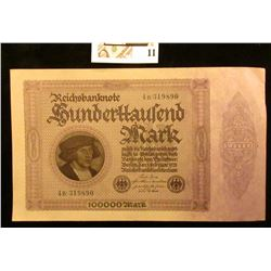 1923 Unc 100,000 mark German note.