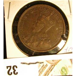 1919 Very Fine Canada Large Cent. Large notch in the edge.