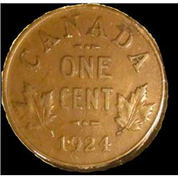 1924 Canada small Cent, Key date, Extra Fine.