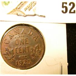 1925 Canada small Cent, Key date, Extra Fine.