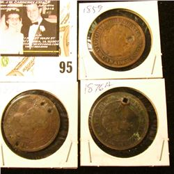 1859 (damaged), 1876 & 1876H (holed) Canada Large Cents.