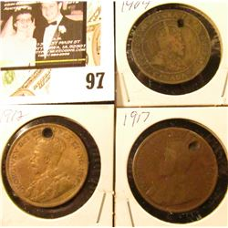 1909, 1912, & 1917 (holed) Canada Large Cents.