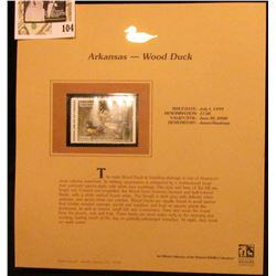 1999 Arkansas-Wood Duck Waterfowl $7.00 Stamp. Mint Condition with literature, unsigned.