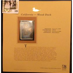 1999 California-Wood Duck Waterfowl $10.50 Two-part Stamp, this is the forward part. Mint Condition