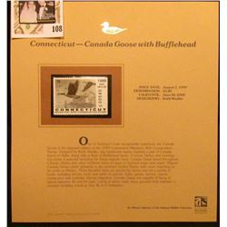1999 Connecticut-Canada Goose with Bufflehead Waterfowl $5.00 Stamp. Mint Condition with literature,