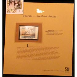 1999 Georgia-Northern Pintail Waterfowl $5.50 Stamp. Mint Condition with literature, unsigned.