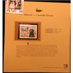 1999 Illinois-Canada Goose Waterfowl $10.00 Stamp. Mint Condition with literature, unsigned.