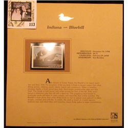 1999 Indiana-Bluebill Waterfowl $6.75 Stamp. Mint Condition with literature, unsigned.
