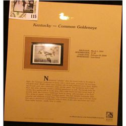 1999 Kentucky-Common Goldeneye Waterfowl $7.50 Stamp. Mint Condition with literature, unsigned.