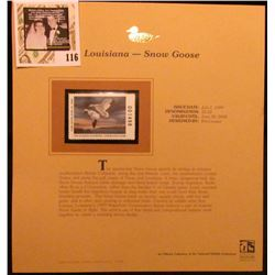 1999 Louisiana-Snow Goose Waterfowl $5.50 Stamp. Mint Condition with literature, unsigned.