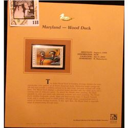 1999 Maryland-Wood Duck Waterfowl $6.00 Stamp. Mint Condition with literature, unsigned.