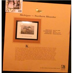 1999 Michigan-Northern Shoveler Waterfowl $5.00 Stamp. Mint Condition with literature, unsigned.