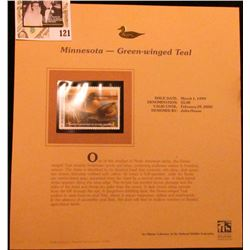 1999 Minnesota-Green-winged Teal Waterfowl $5.00 Stamp. Mint Condition with literature, unsigned.