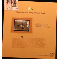1999 Mississippi Ring-necked Duck Waterfowl $5.00 Stamp. Mint Condition with literature, unsigned.