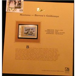 1999 Montana-Barrow's Goldeneye Waterfowl $5.00 Stamp. Mint Condition with literature, unsigned.