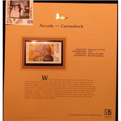 1999 Nevada-Canvasback Waterfowl $5.00 Stamp. Mint Condition with literature, unsigned.