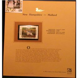 1999 New Hampshire-Mallard Waterfowl $4.00 Stamp. Mint Condition with literature, unsigned.
