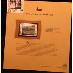 1999 New Jersey-Redhead Waterfowl $5.00 Stamp. Mint Condition with literature, unsigned.
