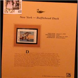 1999 New York-Bufflehead Duck Waterfowl $5.50 Stamp. Mint Condition with literature, unsigned.