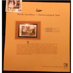 1999 North Carolina-Green-winged Teal Waterfowl $5.00 Stamp. Mint Condition with literature, unsigne