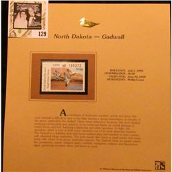 1999 North Dakota-Gadwall Waterfowl $6.00 Stamp. Mint Condition with literature, unsigned.