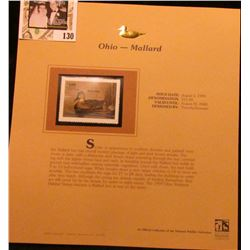 1999 Ohio-Mallard Waterfowl $11.00 Stamp. Mint Condition with literature, unsigned.