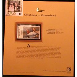 1999 Oklahoma-Canvasback Waterfowl $4.00 Stamp. Mint Condition with literature, unsigned.