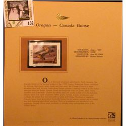 1999 Oregon-Canada Goose Waterfowl $5.00 Stamp. Mint Condition with literature, unsigned.