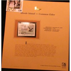 1999 Rhode Island-Common eider Duck Waterfowl $7.50 Stamp. Mint Condition with literature, unsigned.
