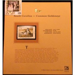 1999 South Carolina-Common Goldeneye Waterfowl $5.50 Stamp. Mint Condition with literature, unsigned
