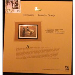 1999 Wisconsin-Greater Scaup Waterfowl $7.00 Stamp. Mint Condition with literature, unsigned.