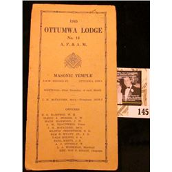 "1945 ""Ottumwa Lodge No. 16 A.F. & A.M. Masonic Temple Officers and Members card."