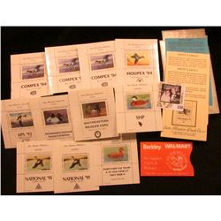 "Sam Houston Philatelics Souvenir Show Labels: (3) ""COMPEX '94"" depicting a Mallard; ""Philadelphia Na"