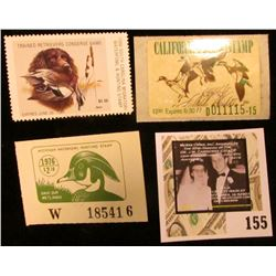 Mint, unsigned 1976-77 California Duck Stamp; 1976 Michigan Waterfowl Hunting Stamp, mint, unsigned;