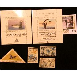 """Sam Houston Philatelics Souvenir Show Labels: """"National '89"""" depicts an Old Squaw;  """"Postage Stamp M"""