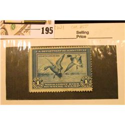 1934 RW1 $1 Federal Migratory Bird Hunting Stamp, not signed, creased.