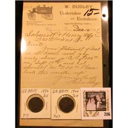 "Dec. 4, 1897 Churdan, Iowa W. Dudley, Undertaker and Embalmer Agent for Sterling Caskets"" letter on"