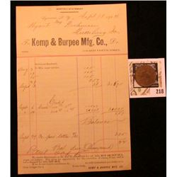 """J.S. Kemp Mfg. Co./Pay Check"" with Chinese Countermarks, ""74"", Brass, rd., 29mm with a 1904 Invoice"