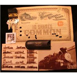 """1891 Stock Certificate for Ten Shares """"Missouri, Kansas and Texas Railway Company"""" depicts a Locomot"""
