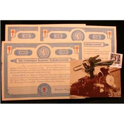 1942 The Crusade of the Double-Barred Cross ($5, $15, & $500) Christmas Seal Bonds, (designed simila